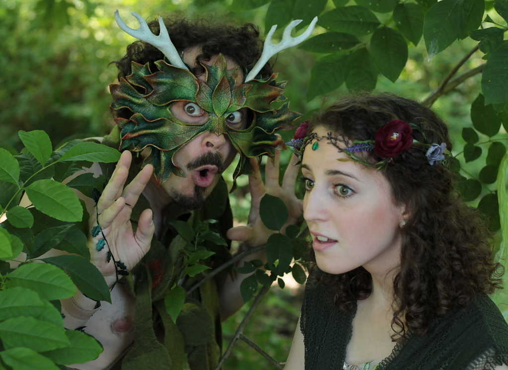 Ian Blackwell Rogers as Puck and Madie Kilner as Faery.