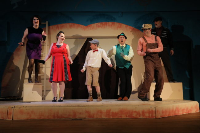"(L to R) Megan Mostow as Spider, Rebecca Hanaluer as Ladybug, Brandon Goldman as James, Jeremy Goldman as Grasshopper, Matt Scheer as Earthworm, and John ""Gary"" Pullen as Centipede"