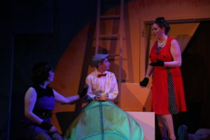 Megan Mostow (left) as Spider, Brandon Goldman (center) as James, and Rebecca Hanauer (right) as Ladybug