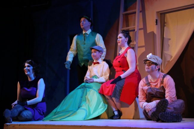 (L to R) Megan Mostow as Spider, Jeremy Goldman as Grasshopper, Brandon Goldman as James, Rebecca Hanauer as Ladybug, and Matt Scheer as Earthworm