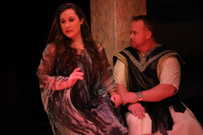 Kellie Podsednik (left) as Judy and Rob Wall (righ) as Holofernes in Judy and The General