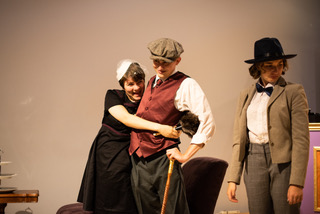 Juliana Schueckler (left) as Maria, Jeremy Crawford (center) as Sir Toby Belch, and Lilly Foley (right) as Sir Andrew Aguecheek