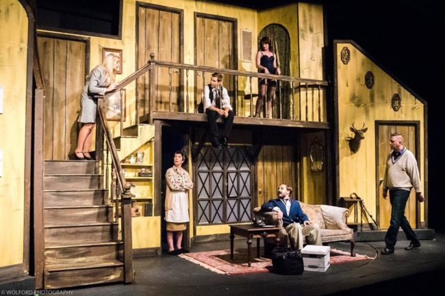 The Company of Noises Off at Cumberland Theatre, directed by Matt Bannister