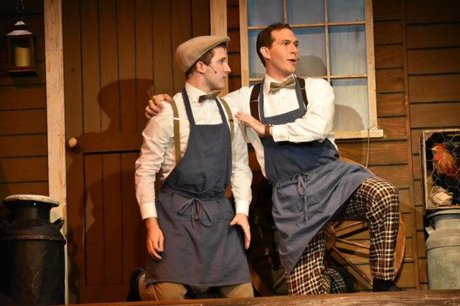 Mark Quackenbush (left) as Barnaby Tucker and Stephen Strosnider (right) as Cornelius Hackl in Hello, Dolly!