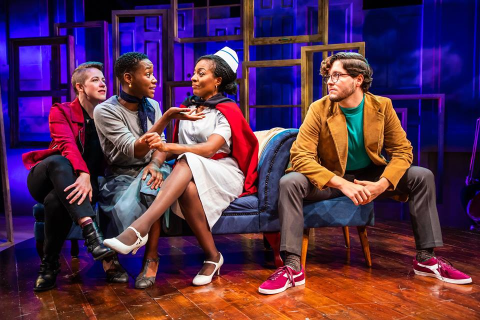 (L to R) Mary Myers, Billie Krishawn, Lilian Oben, and Christian Montgomery in Melancholy Play at Constellation Theatre Company