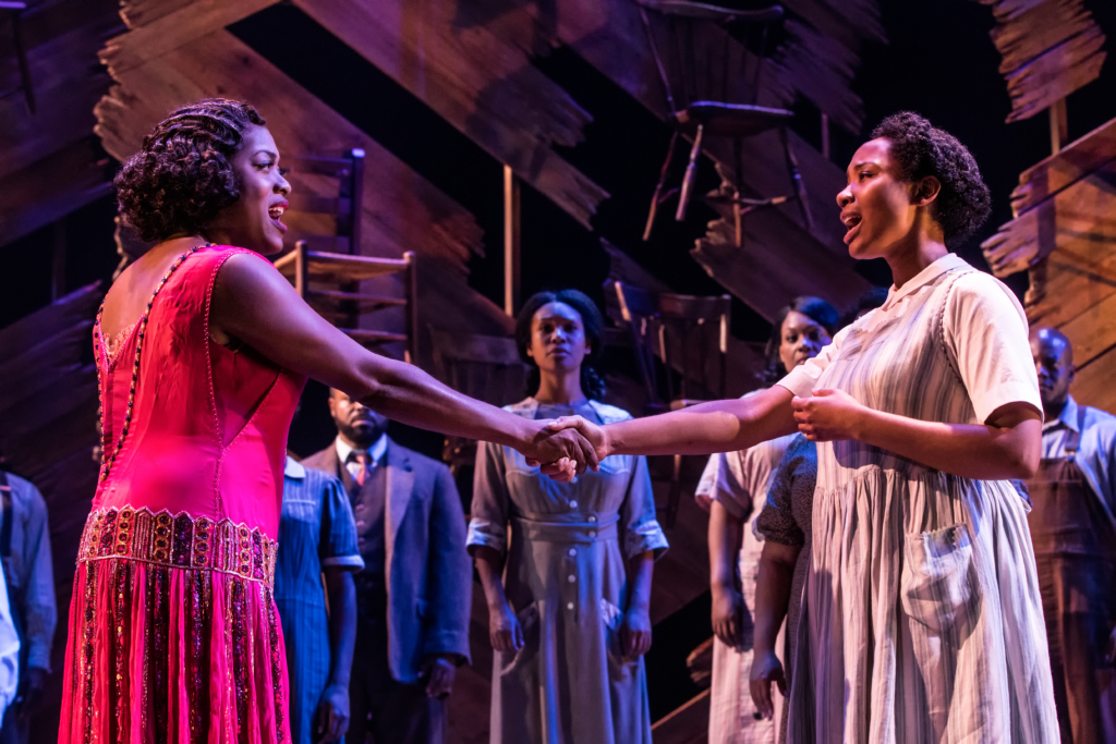 Carla R. Stewart (left) as Shug Avery and Adrianna hicks (right) as Celie in The National Tour of The Color Purple