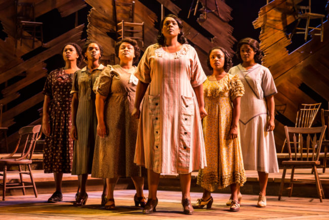 Carrie Compere (center) as Sofia and the women of The National Tour of The Color Purple