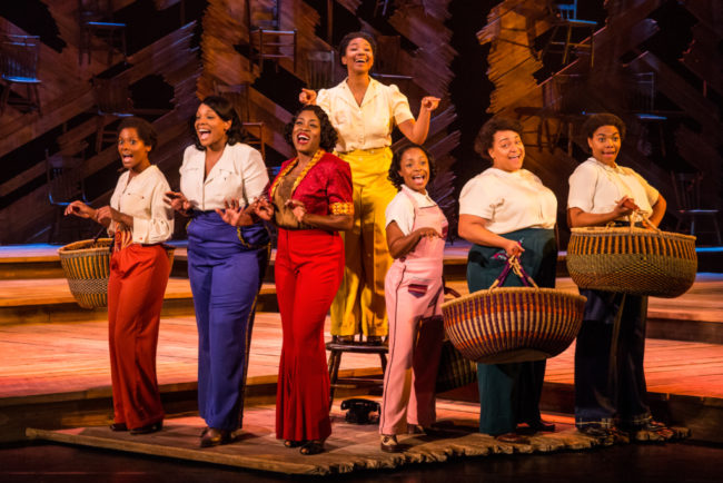 Adrianna Hicks (center) as Celie and the ensemble of the national tour of The Color Purple