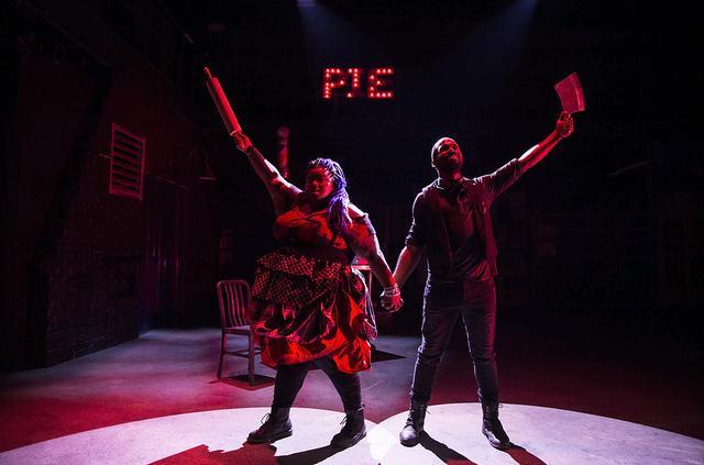 Jade Jones (left) as Mrs. Lovett and V. Savoy McIlwain (right) as Sweeney Todd