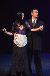 Tatiana Dalton (left) as Morticia Addams and Dickie Mahoney (right) as Gomez Addams