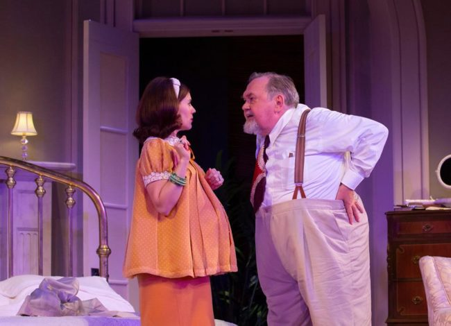 Alexis Hyatt (left) as Mae and David Schramm (right) as Big Daddy in Cat on a Hot Tin Roof at Baltimore Center Stage