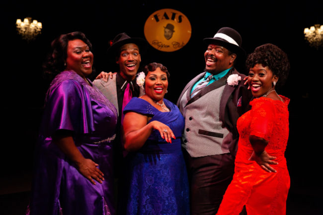(L to R) Kelli Blackwell, Bryan Jeffrey, Kadejah Oné, Tobias A. Young, and Kanysha Williams in Ain't Misbehavin' at Toby's Dinner Theatre