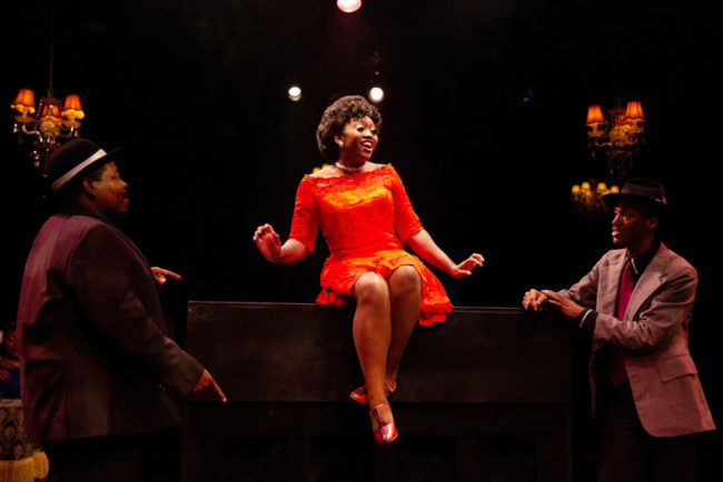 Tobias A. Young (left) with Kanysha Williams (center) and Bryan Jeffrey (right) in Ain't Misbehavin' at Toby's Dinner Theatre