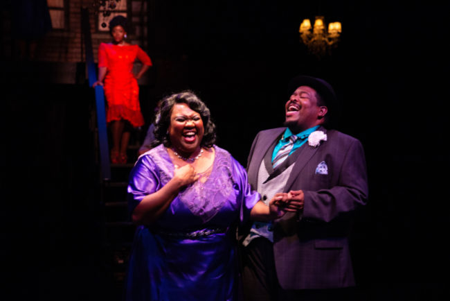 Kelli Blackwell (left) and Tobias A. Young (right) with Kanysha Williams (back left) in Ain't Misbheavin' at Toby's Dinner Theatre