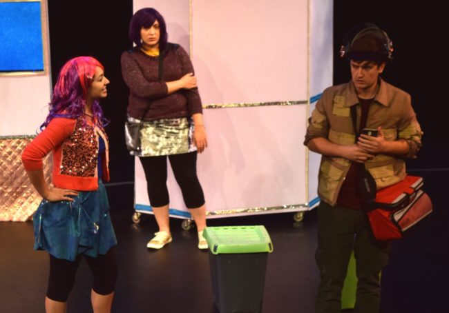 Kelsey Yudice (left) as Ineka Brendley, Briana Manente (center) as Vellum, and James Morogiello (right) as Klipp Casey