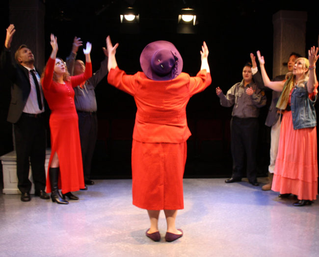 Amy Heller (center) as Lysistrata in Lysistrata at Spotlighters Theatre