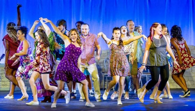 The Company of Mamma Mia at Scottfield Theatre Company