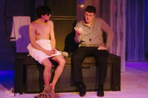 Jordan Champe (left) as Oskar and Jack Evans (right) as Mr. Avila