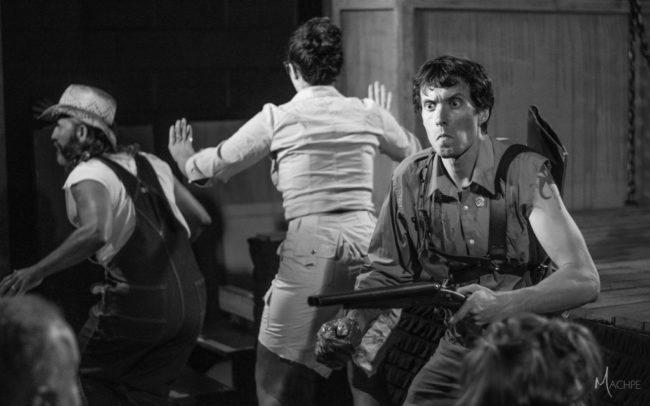 Steve Flickinger (left) as Jake, Sydney Phipps (center) as Annie, and Michael Bliss (right) as Ash in Evil Dead: The Musical