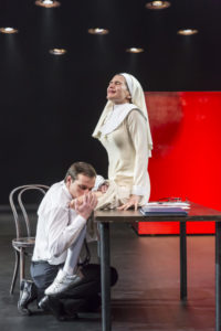 Andrei Kuzichev (left) as Angelo and Anna Vardevanian (right) as Isabel in Measure for Measure