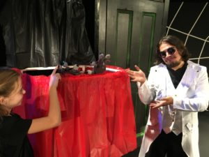 Ava Nicholas (left) as Coraline and Mikey Bevarelli (right) as Mr. Bobo