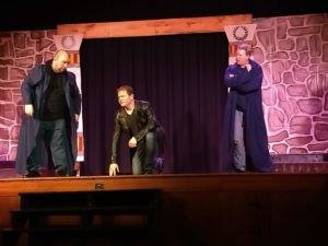 Chris Thomas (left) as Caiaphas with Jim Gerhardt (center) as Judas and Dave Gerstmyer (right) as Annas