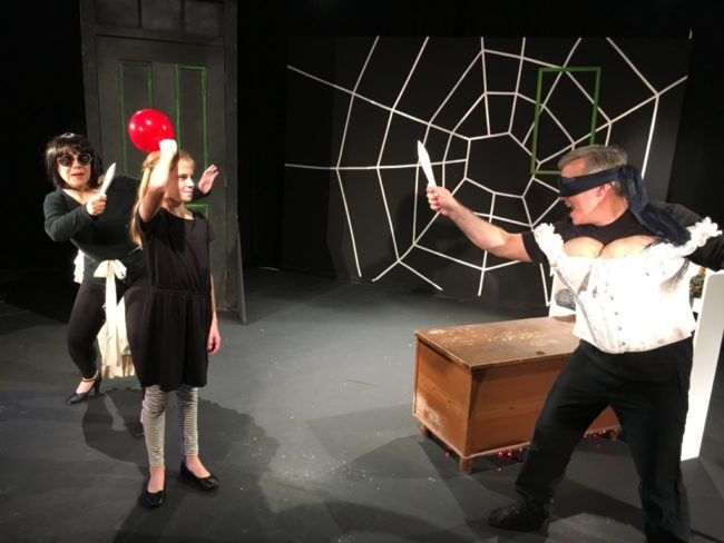 Shelly Work (left) as Miss Spink with Ava Nicholas (center) as Coraline and Timothy R. King (right) as Miss Forcible in Coraline at Landless Theatre Company