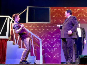 Drew Sharpe as Lucas Beineke and Vincent Musgrave as Gomez Addams