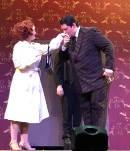 Ashley Gerhardt as Alice Beineke and Vincent Musgrave as Gomez Addams