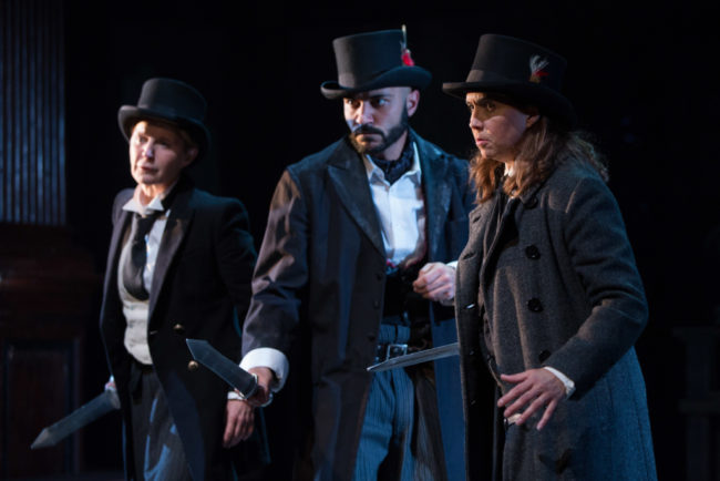 Noble English Lords take up arms (left to right: Kate Goehring, Maboud Ebrahimzadeh, Holly Twyford) in Shakespeare's King John. On stage at Folger Theatre, October 23 – December 2, 2018.