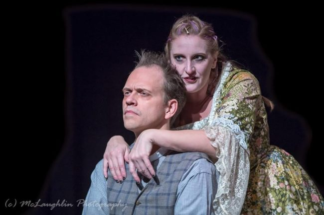 Hans Dettmar (left) as Sweeney Todd and Elizabeth Hester (right) as Mrs. Lovett in Sweeney Todd at Kensington Arts Theatre