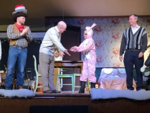 (L to R) Nate Lohrmann as Red Ryder, Gene Valendo as Adult Ralph, Finn Smith as Ralphie, and Paul Ballard as The Old Man