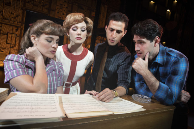 "Four  Friends.  (l  to  r)  Sarah  Bockel(""Carole  King""),  Alison  Whitehurst(""Cynthia  Weil""),  Jacob  Heimer(""Barry  Mann"")and  Dylan  S.  Wallach(""Gerry  Goffin"")."