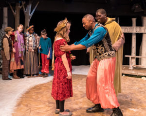 Claire Gunthert (left) as Magda and Carlos Reaves (right) as Rodrigo and the cast of Season of Light. Photo by Harvey Levine