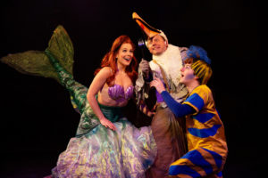 Abby Middleton (left) as Ariel with Jeffrey Shankle (center) as Scuttle and Jacob Hale (right) as Flounder