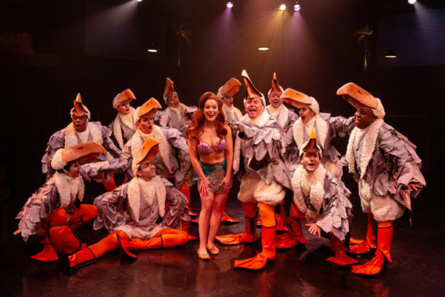 Abby Middleton (center left) as Ariel and Jeffrey Shankle (center right) as Scuttle and The Gulls in The Little Mermaid
