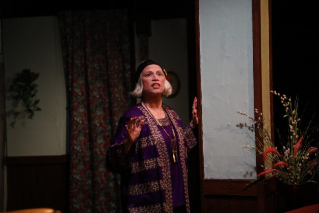 Suzanne Young as Madam Arcatti in Blythe Spirit at Spotlighters Theatre. Photo courtesy of Shealyn Jae Photography