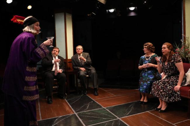 The cast of Blythe Spirit at Spotlighters Theatre