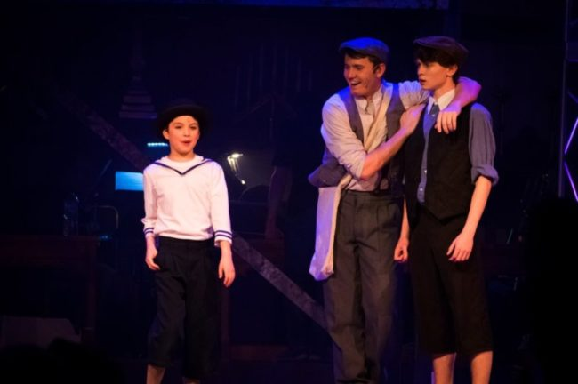Bailey Gomes (left) as Les with Andy Collins (center) as Jack Kelly and Logan Snyder (right) as Davey Stasia Steuart Photography
