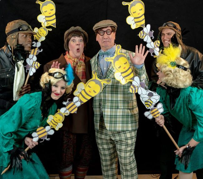 Jane C. Boyle (center left) as Toad with Chuck Graham (center right) as Frog and the company of A Year with Frog and Toad at DCT.