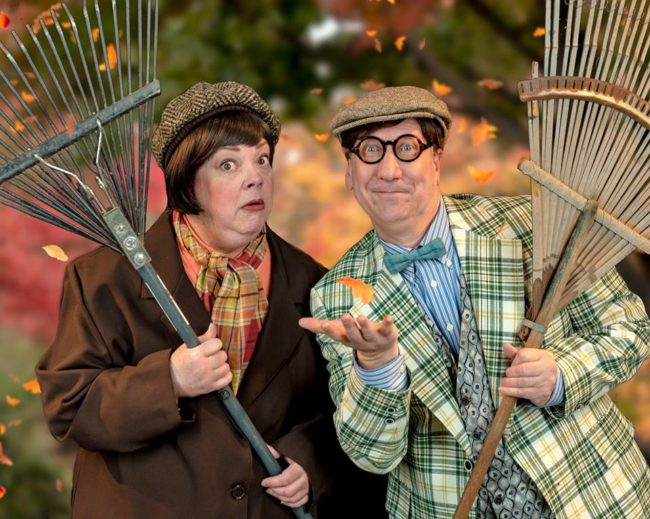 Jane C. Boyle (left) as Toad and Chuck Graham (right) as Frog in A Year with Frog and Toad at DCT.