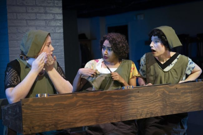 Dena Transeau (left) as Irene Rudolph, Surasree Das (center) as Katherine Schaub, and Bette Cassatt (right) as Grace Fryer in Radium Girls. Photo by Joe Williams.