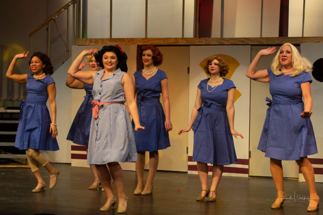 Maddie Bohrer (center) as Bonnie and Reno's Angels in Anything Goes