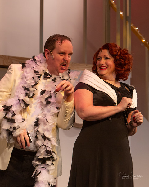 Ryan Geiger (left) as Sir Evelyn Oakleigh and Robyn Bloom (right) as Reno Sweeney in Anything Goes