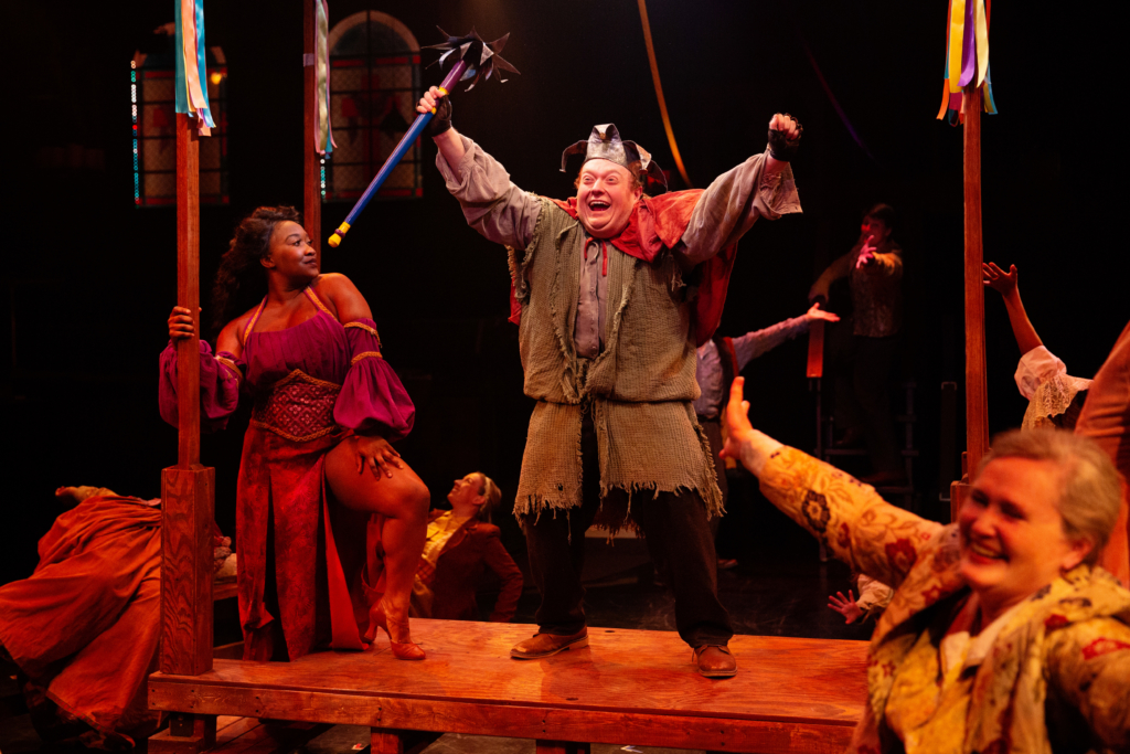 Jessica Bennett (left) as Esmerelda and Sam Kobren (right) as Quasimodo in The Hunchback of Notre Dame (Jeri Tidwell Photography)