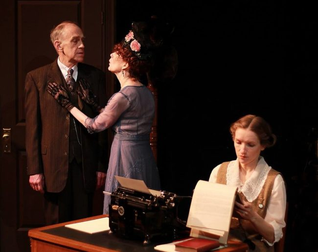 Steve LaRocque (left) as Mr. Woolsey, Stephanie Mumford (center) as Mrs. Woolsey, and Carol Spring (right) as Myra in Ghost-Writer.