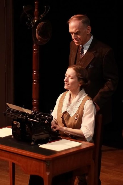 Carol Spring (left) as Myra and Steve LaRocque (right) as Mr. Woolsey in Ghost-Writer