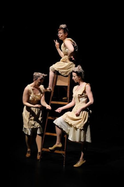 The Fates (l to r) Gwen Grastorf, Sabrina Mandell, and Sarah Olmsted Thomas. Photo: Glenn Ricci