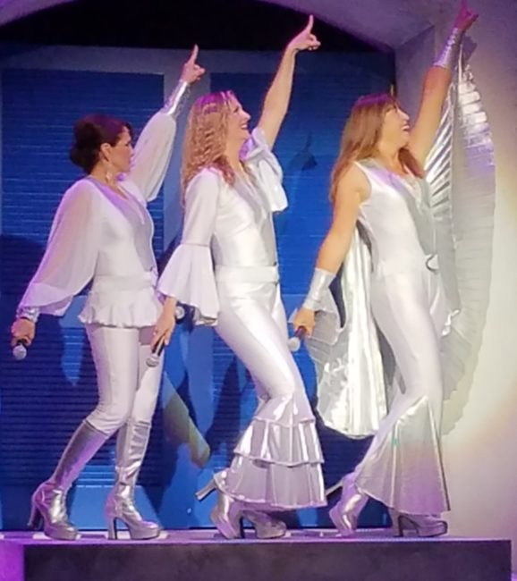 Rachel Weir (left) as Tanya, Tatiana Dalton (center) as Donna, and Andrea Wildason (right) as Rosie in Mamma Mia!
