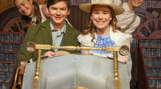 (L to R) Anya Lengberye as Jemima, Andrew Wilson as Caractacus Potts, Mackenzie Currie as Truly Scrumptious, and Pilot Earle-Smith as Jeremy in Chitty Chitty Bang Bang Jr.